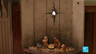 The latest work by the artist Banksy was unveiled in Bethlehem in the occupied West Bank on December 21 2019.