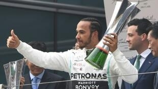 Le pilote Mercedes Lewis Hamilton vainqueur du Grand Prix de Chine à Shanghai, le 14 avril 2019
