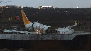 A Pegasus Airlines Boeing 737 plane after it skidded off the runway at Istanbul's Sabiha Gokcen airport Feb. 5, 2020.