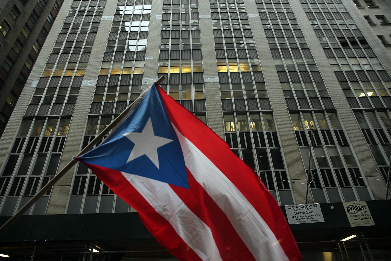 Une manifestation contre l'austérité à Porto Rico devant un immeuble de Wall Street en 2015.