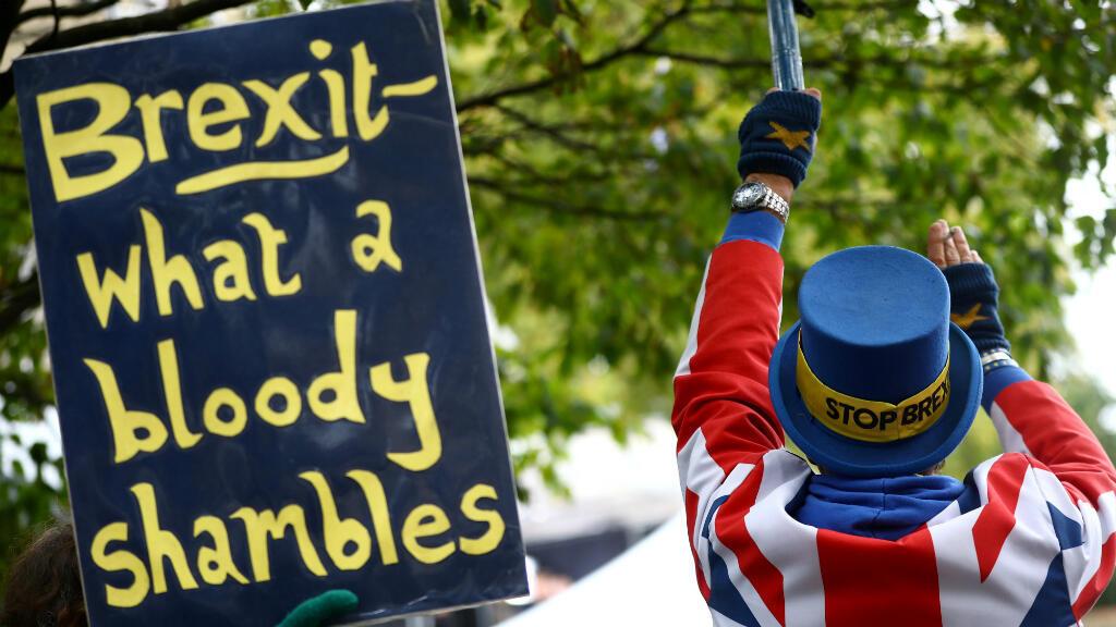 """Un manifestante contra el Brexit protesta frente al Parlamento al lado de una pancarta que dice """"Brexit, qué sangienta ruina"""". Londres, Reino Unido, el 21 de octubre de 2019."""