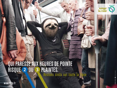 One of the ads from the Parisian transport company's campaign