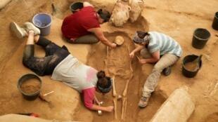 Photo prise le 28 juin 2016 montrant des archéologistes travailler sur un squelette sur le site du premier cimetière de Philistins découvert, dans la ville d'Ashkelon, dans l'ouest d'Israël