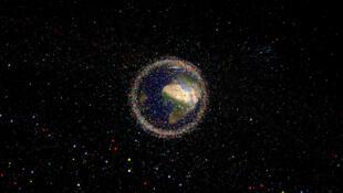 Illustration artistique de la Terre entourée de débris spatiaux.