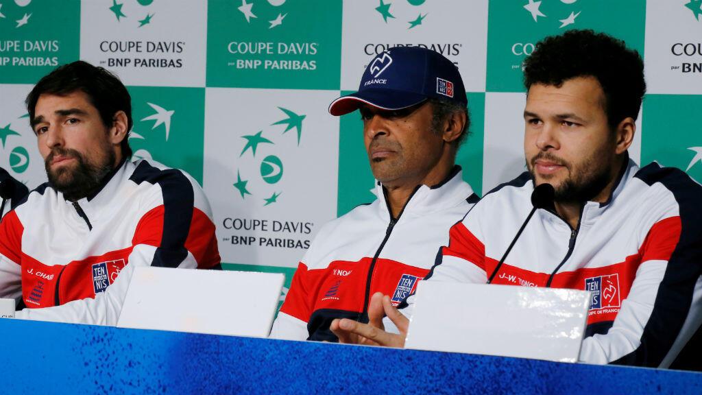 De gauche à droite, Jérémy Chardy, Yannick Noah et Jo-Wilfried Tsonga.