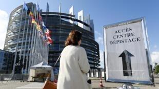 Le Parlement européen accueille un centre de dépistage Covid-19, à Strasbourg, le 12 mai 2020