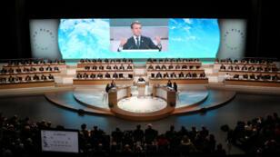 Emmanuel Macron, mardi 12 décembre 2017, au One Planet Summit près de Paris.