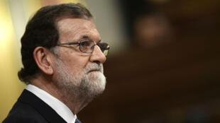 Le Premier minister Mariano Rajoy s'adresse au Parlement espagnol, le 11 octobre 2017.