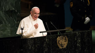 Le pape François lors de son discours à la tribune des Nations unies, le 25 septembre 2015.