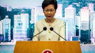 صورة من الارشيف تظهر رئيسة السلطة التنفيذية لهونغ كونغ كاري لام بتاريخ 6 تموز/يوليو 2020