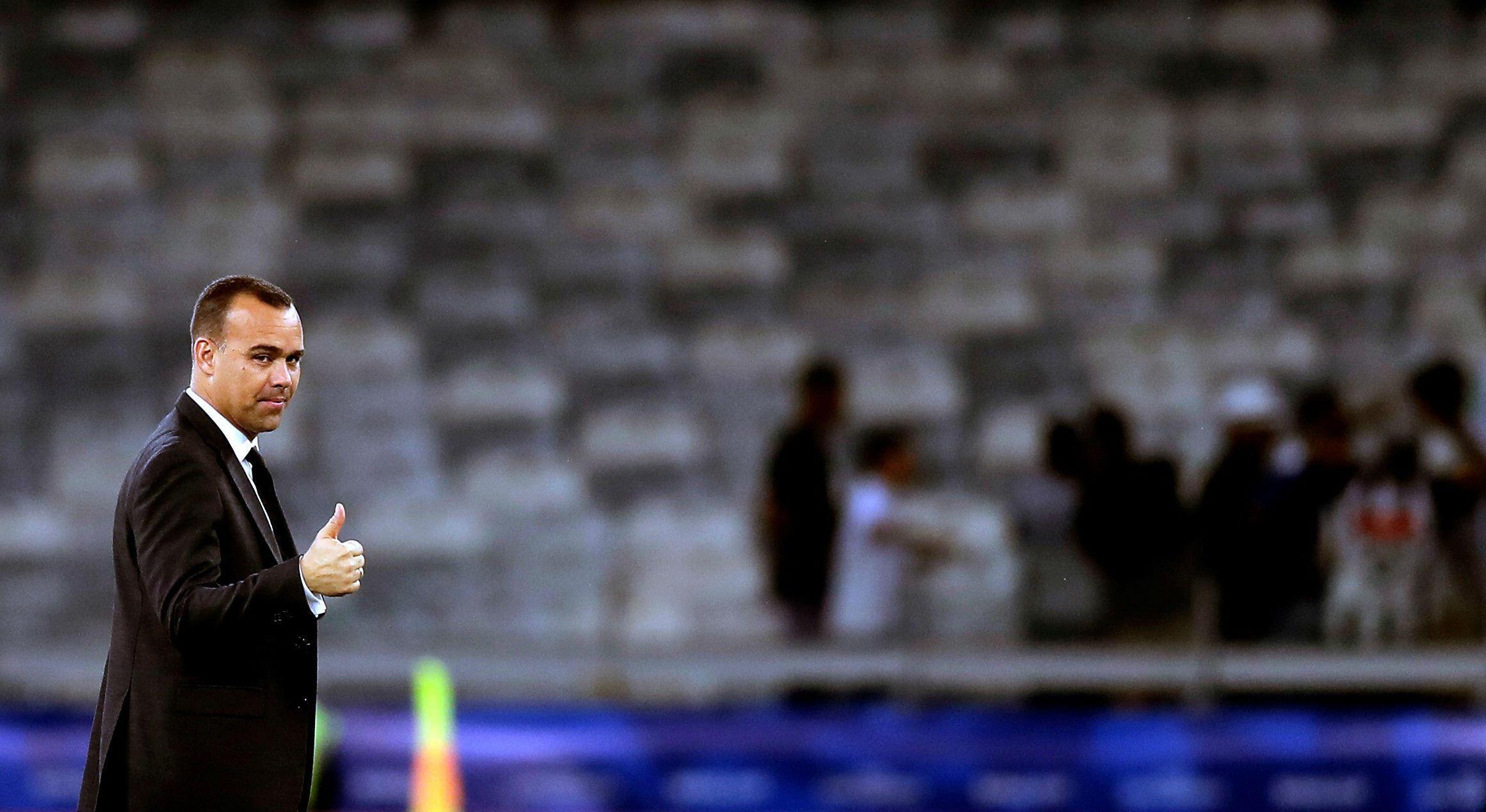 El técnico de Venezuela, Rafael Dudamel, reacciona este sábado, tras el partido ante Bolivia del grupo A en Belo Horizonte, Brasil. 22 de junio de 2019.