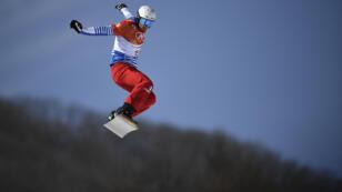 Pierre Vaultier durant la compétition de snowboard cross aux Jeux Olympiques de Pyeongchang, le 15 février 2018