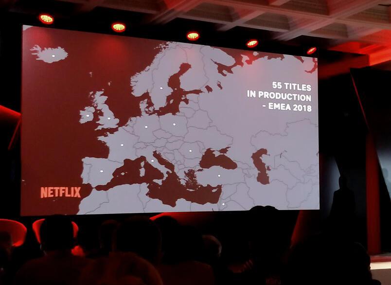 La carte des productions Netflix en cours en Europe, Moyen-Orient et Afrique, présentée lors du See What's Next à Rome, avril 2018.