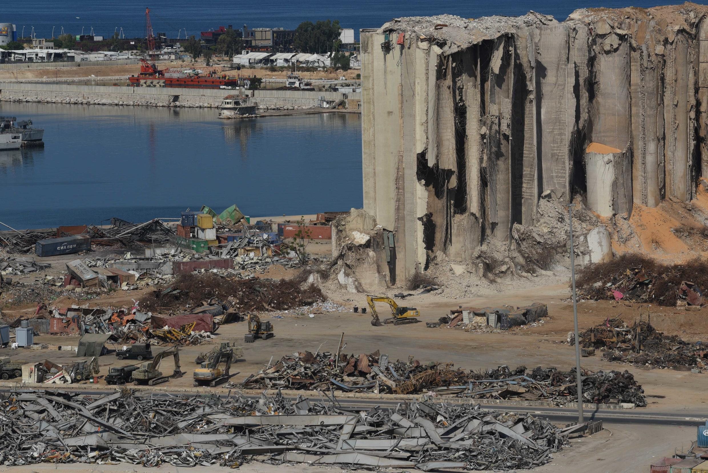 """The Beirut port """"ground zero"""" two months after the blast."""