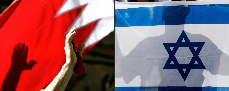 Esta combinación de imágenes muestra a un hombre flameando la bandera de Bahrein y a un israelí ondeando la enseña nacional.