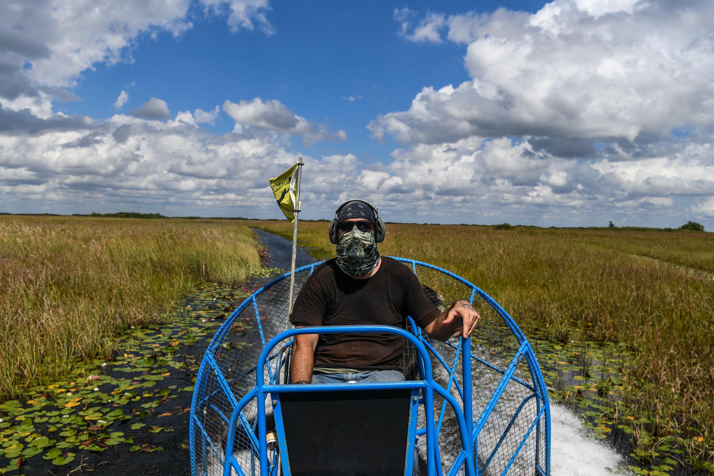 Tourist hydrofoil captain Umberto Lazaro Gimenez flies over Everglades National Park, Florida on September 30, 2021