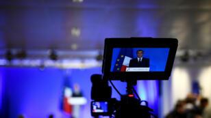 Le candidat de la droite et du centre a maintenu sa candidature au cours d'une conférence de presse à Paris, lundi 6 février 2017.