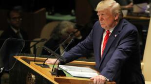 Imagen del presidente estadounidense Donald Trump durante su discurso a la Asamblea General de la ONU en Nueva York, EE. UU. el 24 de septiembre de 2019.