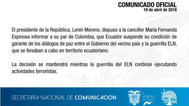 Ecuador deja de ser garante de proceso con ELN