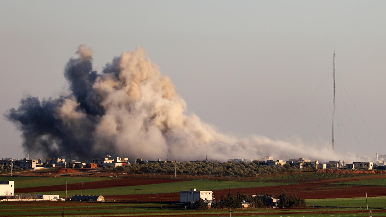 قرية الصالحية قرب سراقب شرقي محافظة إدلب شمال غرب سوريا، 26 فبراير/شباط 2020.