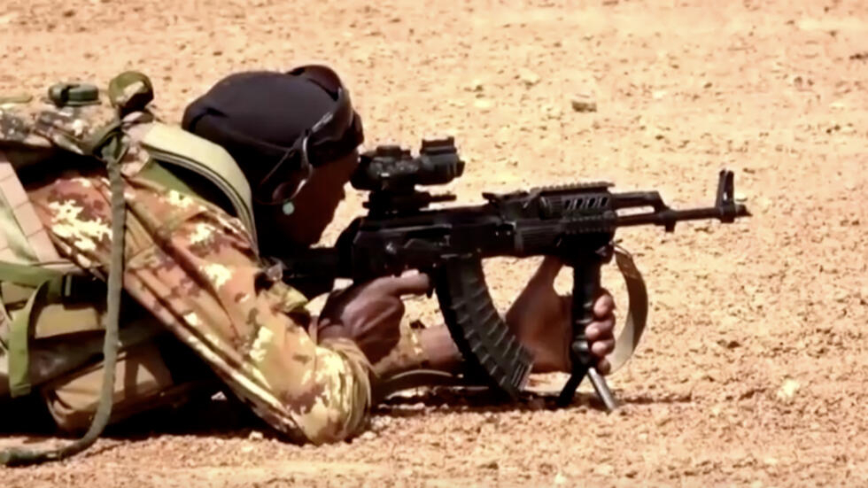 Reuters screengrab of Mali forces during training.