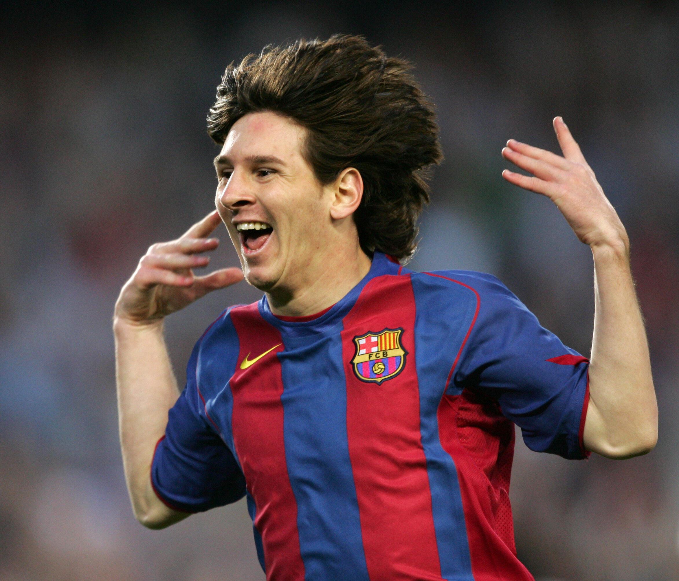 Lionel Messi célébrant son premier but avec le FC Barcelone en 2005.