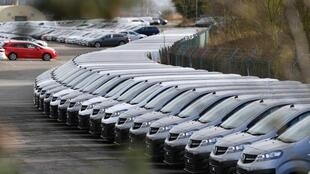 Cars parked at the Vauxhall factory in Ellesmere Port, England, after French owner PSA announced the shutdown of all its factories in Europe due to the coronavirus.