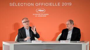 L'annonce de la sélection pour le festival de Cannes 2019 par Thierry Fremaux et Pierre Lescure, le 17 avril 2019.