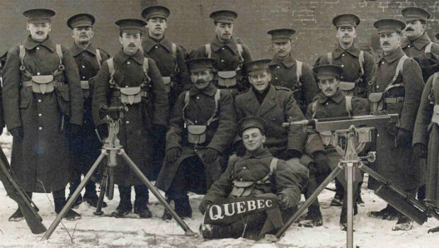 A group of recruits of the 22nd Battalion, which later became the Royal 22nd Regiment, pose for a photo in January 1915 in Quebec.