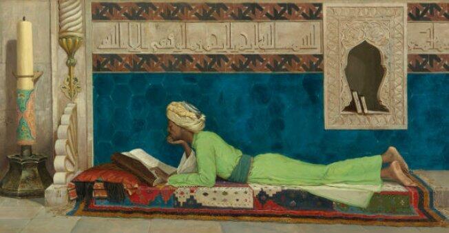 تفصيل من لوحة عصمان حمدي باي (إسطنبول، 1842، جزيرة غلاتاساراي، 1910) أمير شاب يدرس في إسطنبول 1878. متحف لوفر أبو ظبي.