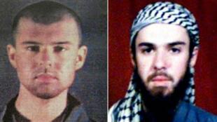 """Montage de deux photos du """"Taliban américain"""", John Walker Lindh: à gauche, une photo de police rendue publique le 6 février 2002, et à droite, une photo prise dans les registres d'une école religieuse au Pakistan le 11 février 2002."""