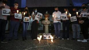 Des journalistes rendent hommage le 23 décembre 2020 à Cali, en Colombie, à leur collègue Felipe Guevara, tué par balles