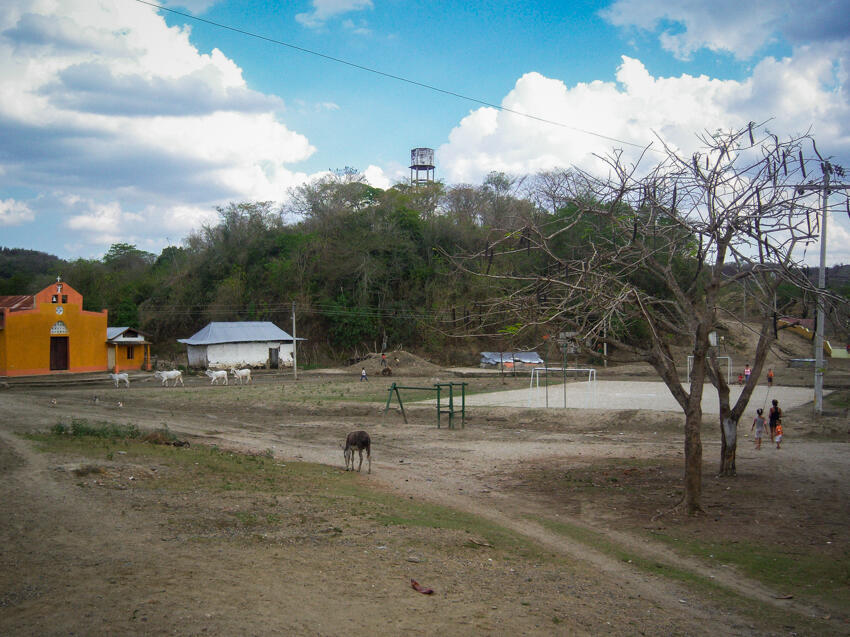 This is the main park and soccer field of El Salado, a village in northern Colombia.