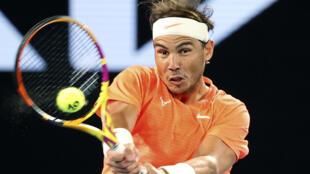 L'Espagnol Rafael Nadal, lors de son match du 3e tour contre le Britannique Cameron Norrie, le 13 février 2021 à l'Open d'Australie à Melbourne