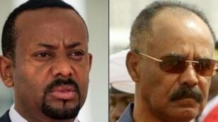 El primer ministro etíope, Abiy Ahmed, a la izquierda, y el primer ministro de Eritrea, Issaias Afeworki.