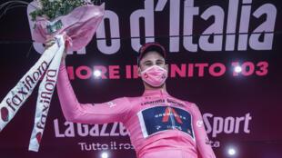 L'Italien Filippo Ganna  vainqueur de la 1re étape du Tour d'Italie, un contre-la-montre entre Monreale et Palerme, le 3 octobre 2020