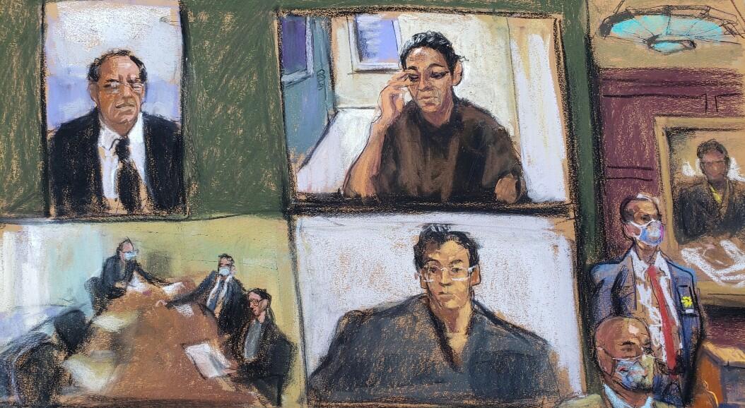 Ghislaine Maxwell, en un sketch, aparece a través de un enlace de video durante su audiencia de comparecencia, donde se le negó la fianza por su papel de ayudar a Jeffrey Epstein a reclutar y eventualmente abusar de niñas menores, en el Tribunal Federal de Manhattan, en el distrito de Manhattan, Nueva York, EE. UU., el 14 de julio de 2020.
