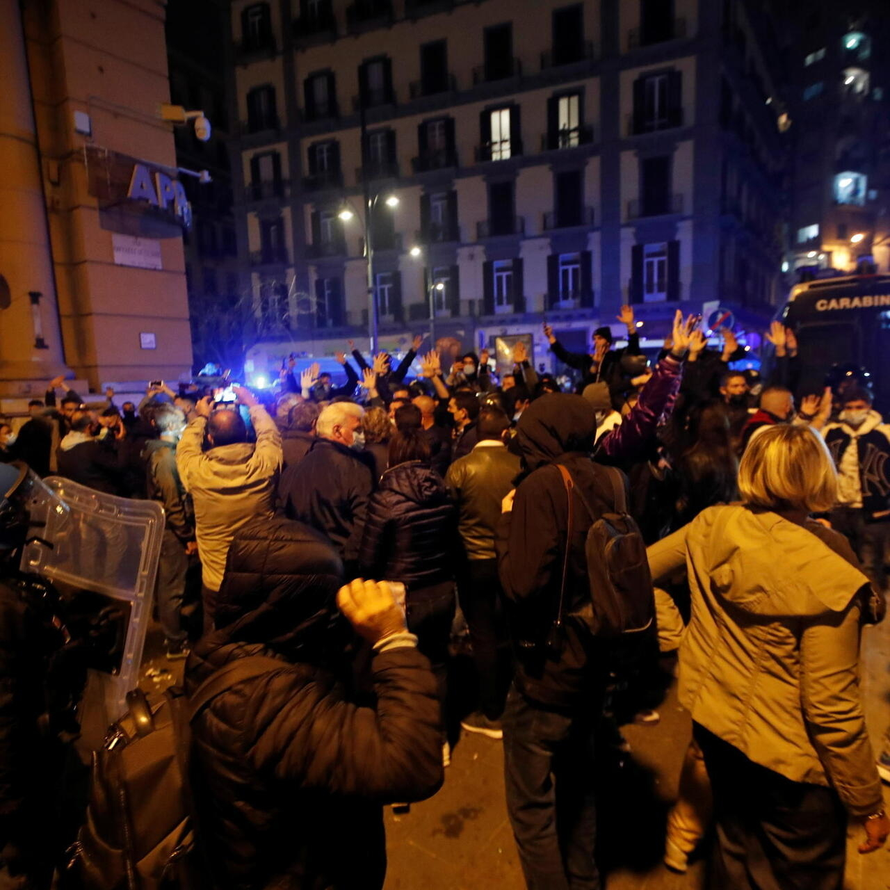 Hundreds Protest Clash With Police In Naples Over New Coronavirus Curfew