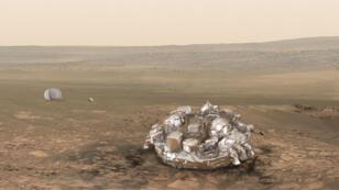 Image d'illustration du module Schiaparelli une fois posé sur Mars.