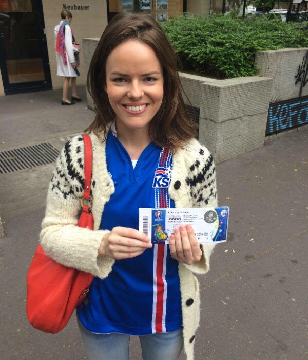 Lea Gestsdóttir-Gayet, fan inconditionnelle de l'équipe d'Islande.