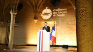 Emmanuel Macron, le 9 avril 2018, lors de son discours devant les évêques de France au collège des Bernardins, à Paris.