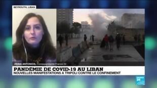 2021-01-28 16:00 Pandémie de Covid-19 au Liban : nouvelles manifestations à Tripoli contre le confinement