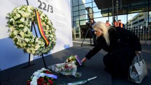 Un hommage aux victimes de l'attentat de l'aéroport de Zaventem, le 22 mars 2017.