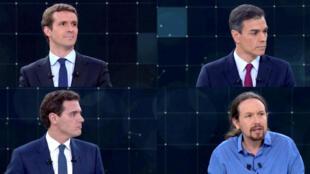 Pablo Casado, Pedro Sánchez, Albert Rivera y Pablo Iglesias se enfrentan en el primer debate electoral, este 22 de abril de 2019.