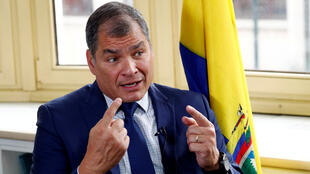 Ecuador's former president Rafael Correa speaks during an interview with Reuters in Brussels, Belgium, on October 8, 2019.