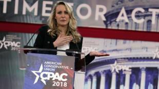 Marion Marechal-Le Pen, le 22 février 2018, à la conférence CPAC, grand-messe annuelle de la droite américaine, dans le Maryland.