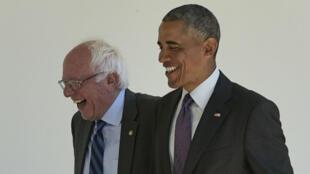 Bernie Sanders accueilli à la Maison Blanche par le président Barack Obama, le 9 juin.