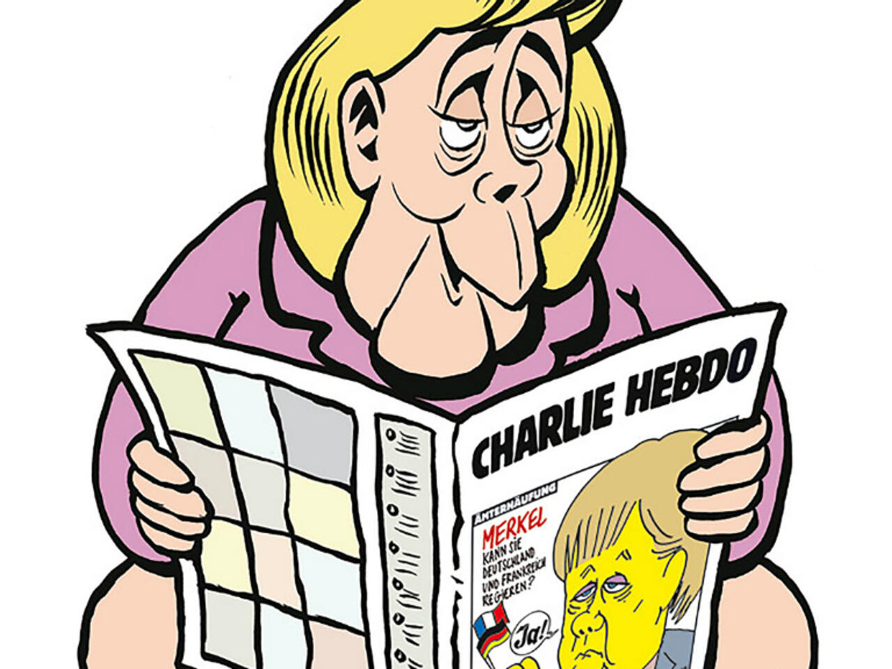 Charlie Hebdo S First German Front Edition Merkel On The Toilet