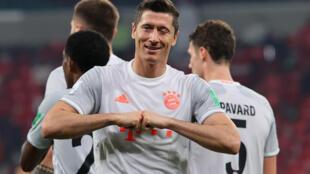 Bayern Munich striker Robert Lewandowski celebrates scoring twice against Egyptian side Al Ahly in Monday's Club World Cup semi-final