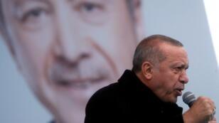 Recep Tayyip Erdogan durante la campaña electoral en Estambul, el 12 de marzo de 2019.
